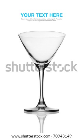 Isolated beautiful martini glass with white background. - stock photo
