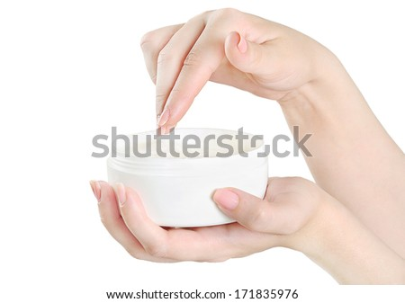 Isolated beautiful woman hands with body lotion