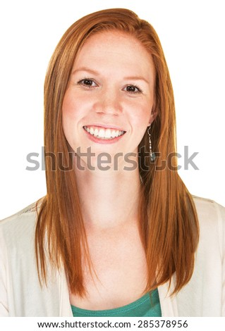 Isolated beautiful young Caucasian female with smile - stock photo
