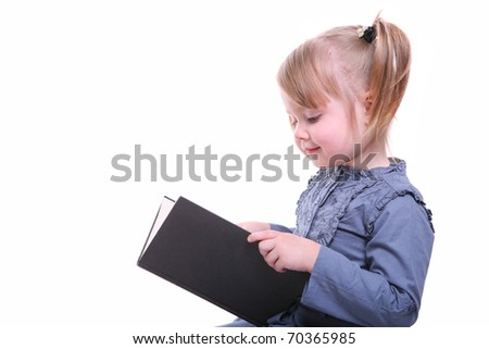 isolated beautiful young girl reading a book - stock photo