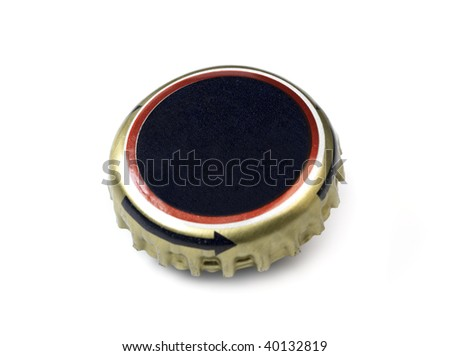 isolated beer bottle cap - stock photo