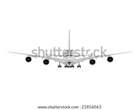 isolated big airplane on a white background - stock photo