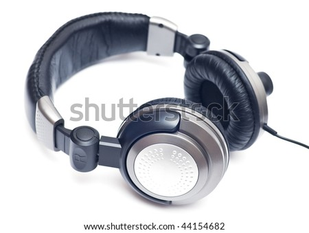 Isolated big grey headphones