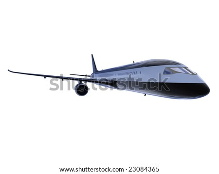 isolated black airplane over white background
