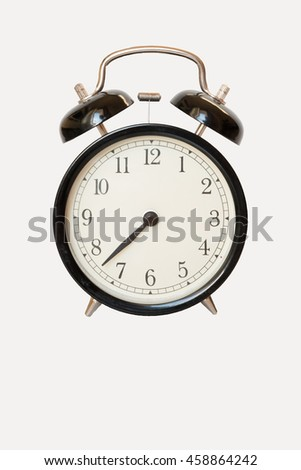 Isolated Black alarm clock on a white background