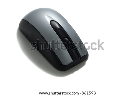 isolated black and gray cordless computer mouse with scroll wheel