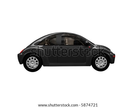 isolated black bug car on a white background