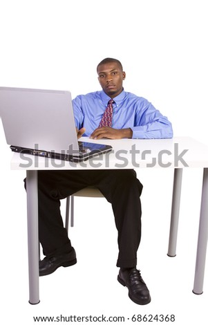 Isolated black Businessman At His Desk Working - White Background