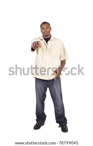 Isolated Black Businessman Pointing Towards the Camera - stock photo