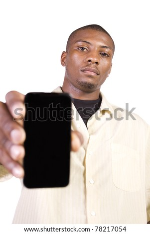 Isolated Black Businessman Showing His Cell Phone - stock photo