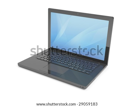 Isolated  Black Laptop - stock photo