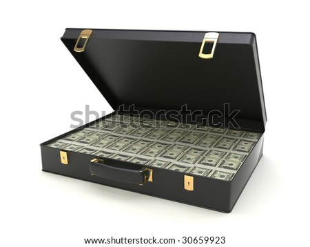 Isolated black leather case with american dollars. - stock photo