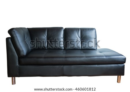 Isolated Black leather sofa on white background with clipping path