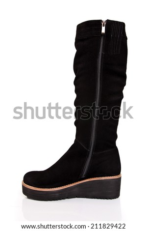 Isolated black shoe - stock photo