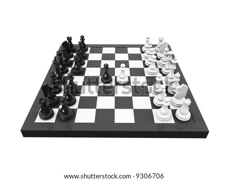 isolated blackboard and chess on white background - stock photo