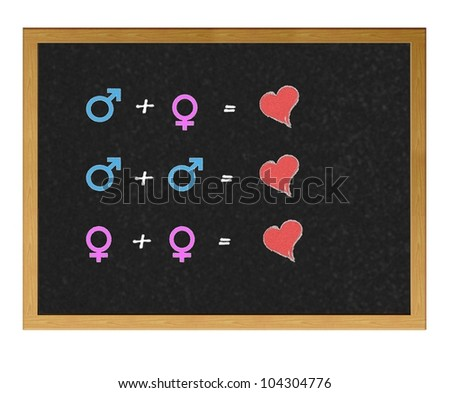 Isolated blackboard with opposite sex. - stock photo