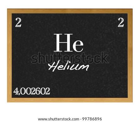 Isolated blackboard with periodic table, Helium. - stock photo
