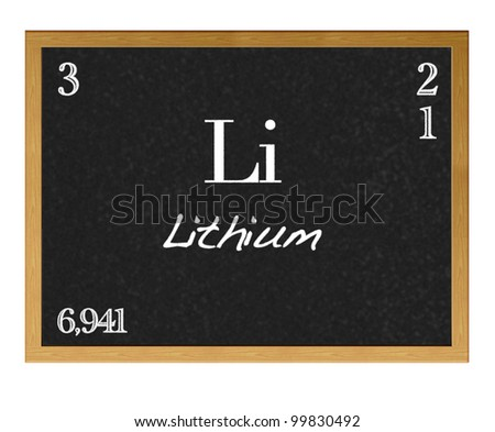Isolated blackboard with periodic table, Lithium. - stock photo