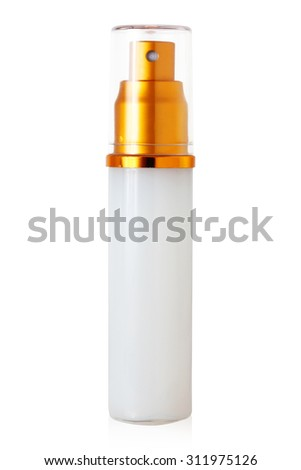 isolated blank cosmetic bottle with cap on white background - stock photo