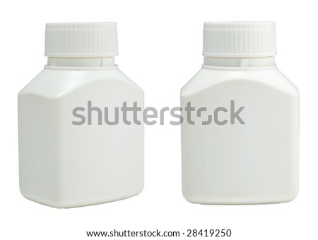 isolated blank plastic medicine container on white background ready for label design - stock photo