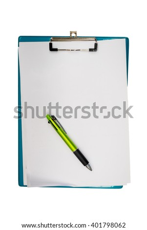 Isolated blank white paper, pen and clipboard on white background