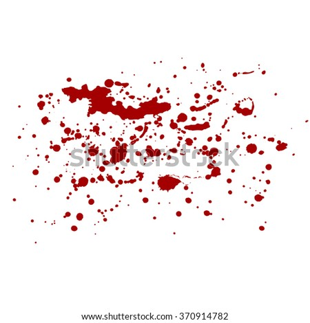 Isolated blood splash. Red splashes, drops, dots, blots