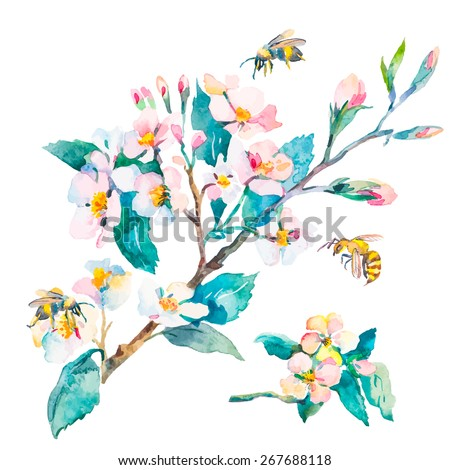 Isolated blossoming branch spring flowers bees stock illustration isolated blossoming branch spring flowers and bees spring mightylinksfo