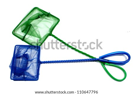 Isolated blue and green fish net used for aquariums at home. - stock photo