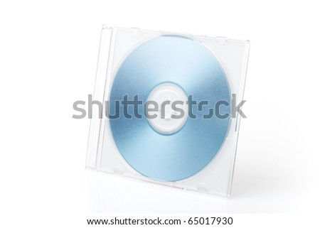 Isolated blue DVD on the box on white background - stock photo