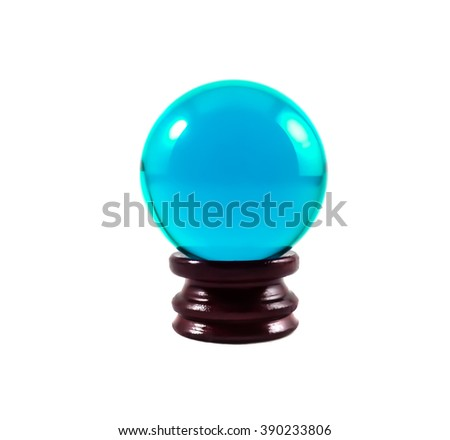 Isolated Blue glass ball or marble on wooden base over white background with clipping path. - stock photo