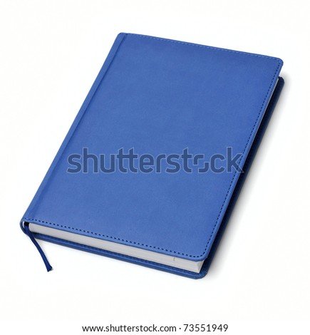 isolated blue notebook on white - stock photo