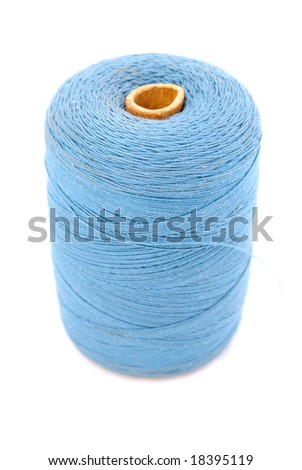 Isolated blue spool on white background