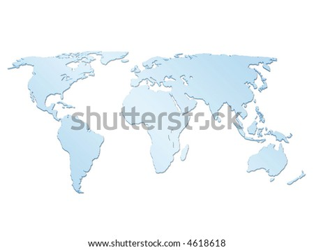 Isolated blue world map 3d - stock photo