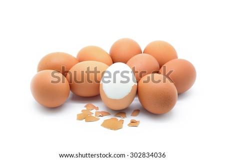 Isolated boiled egg on white background - stock photo
