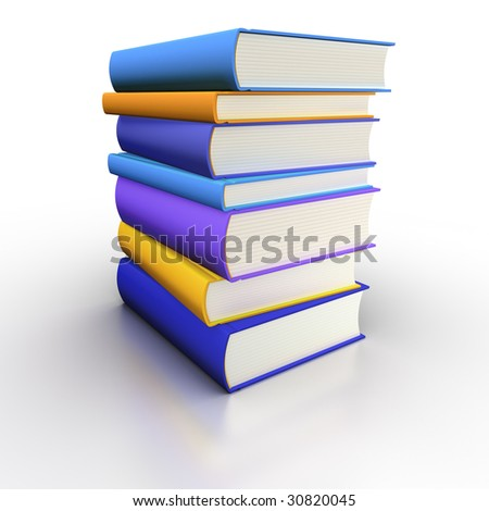 Isolated book stack (blue and orange)