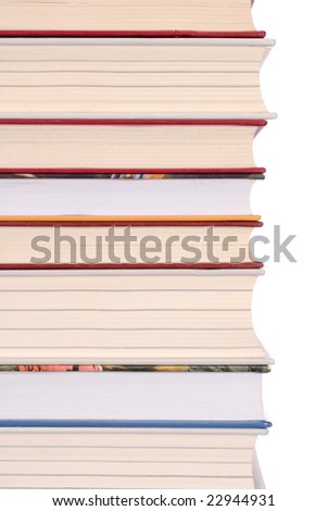 Isolated books with some empty space on the right