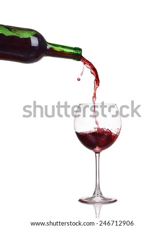 Isolated bottle and glass with splash - stock photo