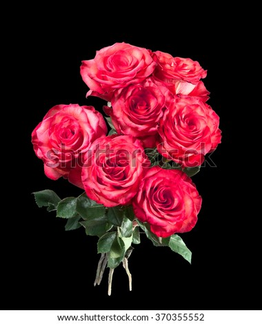 Isolated bouquet of red roses on the black background - stock photo