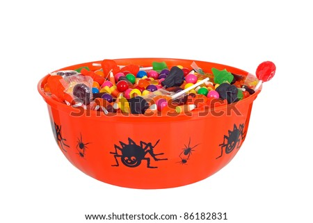 isolated bowl halloween candy - stock photo