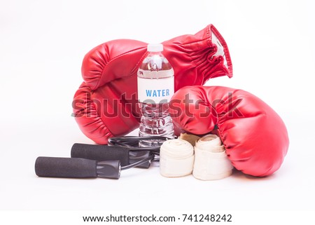 Isolated boxing equipment on white high key background