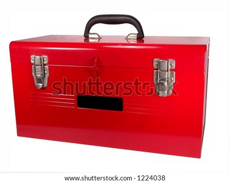 Isolated brand new red toolbox Close-up (High Resolution) - stock photo