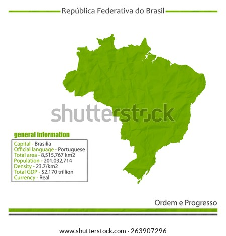 isolated Brazil map and general information - stock photo