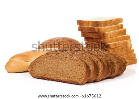 isolated bread on white background - stock photo