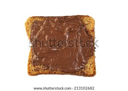 Isolated bread with chocolate cream - stock photo
