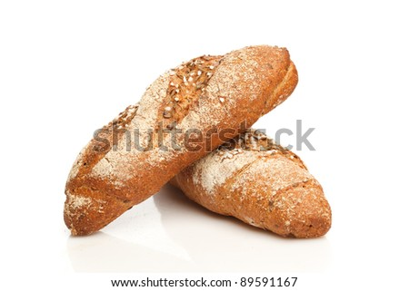 Isolated breads - stock photo