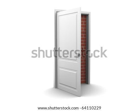 Isolated bricked door to nowhere, no way out