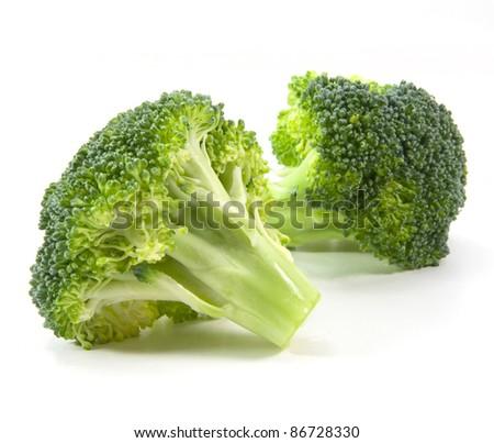 Isolated broccoli on white background - stock photo