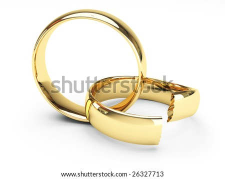 isolated broken gold wedding rings