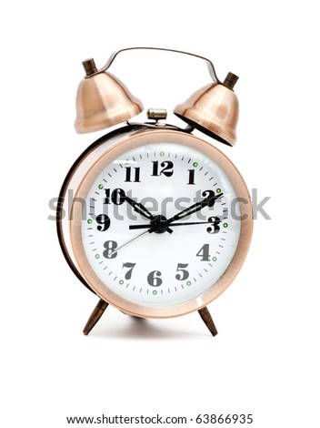 Isolated bronze vintage alarm clock
