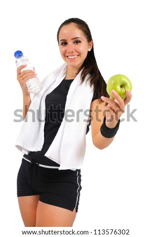 Isolated brown hair fitness woman - stock photo